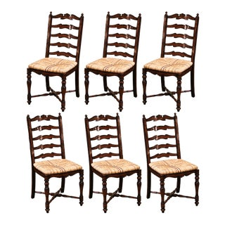 Country French Carved Walnut Ladder Back Chairs With Rush Seat, Set of Six For Sale