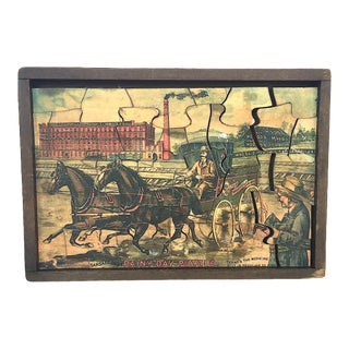Late 19th Century Antique Hood's Sarsaparilla Advertisement Wooden Jigsaw Puzzle For Sale