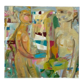 """""""Adam and Eve I"""" Contemporary Abstract Expressionist Oil Painting For Sale"""