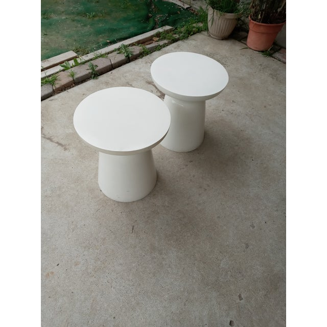 1970s Mid Century Off White Aluminum Stools - a Pair For Sale - Image 5 of 7
