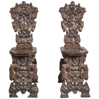 19th Century Gothic Carved Hall Chairs - a Pair For Sale