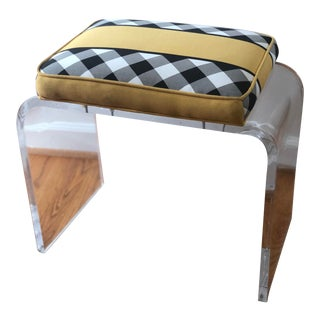 Mid Century Modern Upholstered Lucite Waterfall Stool Bench For Sale