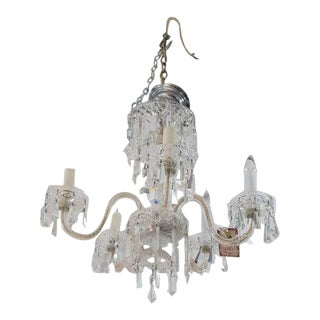 1920's Waterford Style Cut Crystal Five Arm Chandelier