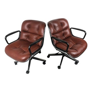Vintage Knoll Pollock Brown Leather Executive Office Chair