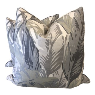 "Thibaut ""Travelers Palm"" in Grey 22"" Pillows-A Pair For Sale"