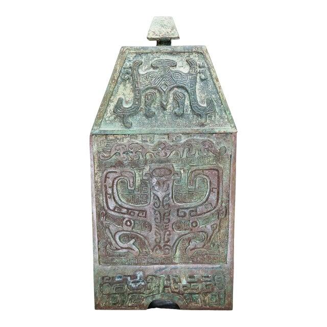 20th Century Chinese Lawrence & Scott Verdigris Bronze Wine Box For Sale