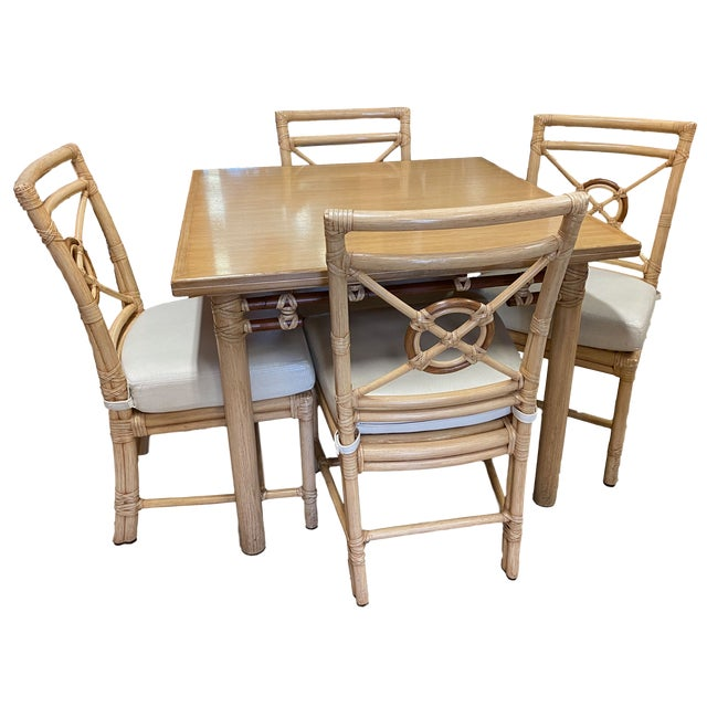 """McGuire """"Target"""" Rattan Dining Set - 5 Pieces For Sale - Image 13 of 13"""