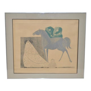 Mid-Century Modern Leticia Tarrago Etching with Aquatint C.1950s For Sale