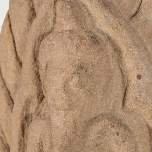 Metal Antique Indian Hand-Carved Limestone Temple God with Lotus Leaf Motif For Sale - Image 7 of 11