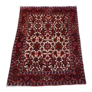 """Vintage Crimson Heriz Wool Rug- 4.5' X 6'8""""ft For Sale"""