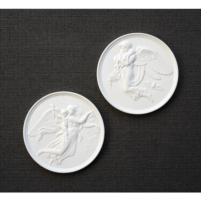 Danish Bing & Grondahl Bisque Porcelain Relief Angel Wall Plaques - a Pair For Sale In San Francisco - Image 6 of 7