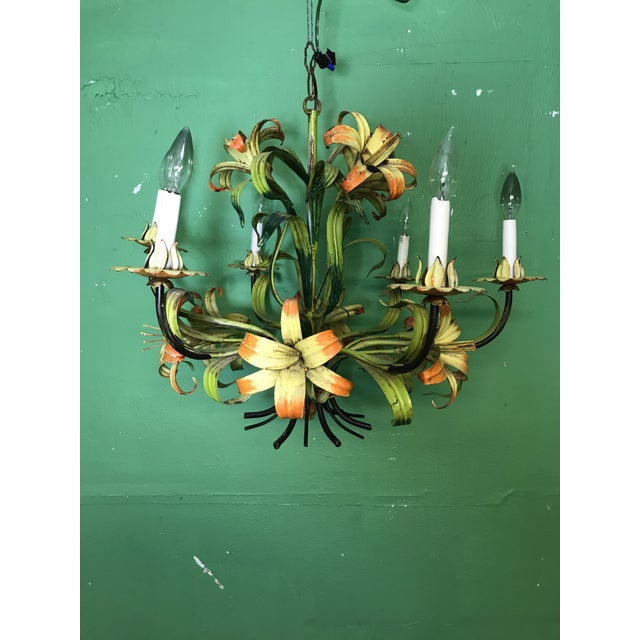 Vintage Italian Hand Painted Tiger Lily Tole Chandelier For Sale - Image 11 of 13