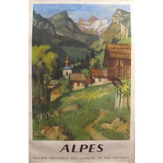 1956 Original French Travel Poster - French National Railways - Les Alpes For Sale
