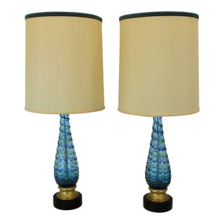 Vintage Murano Glass Lamps in Green and Blue Thumbprint Swirl - a Pair For Sale