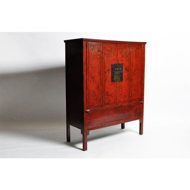 Asian Chinese Wedding Cabinet With Square Lockplate For Sale - Image 3 of 13