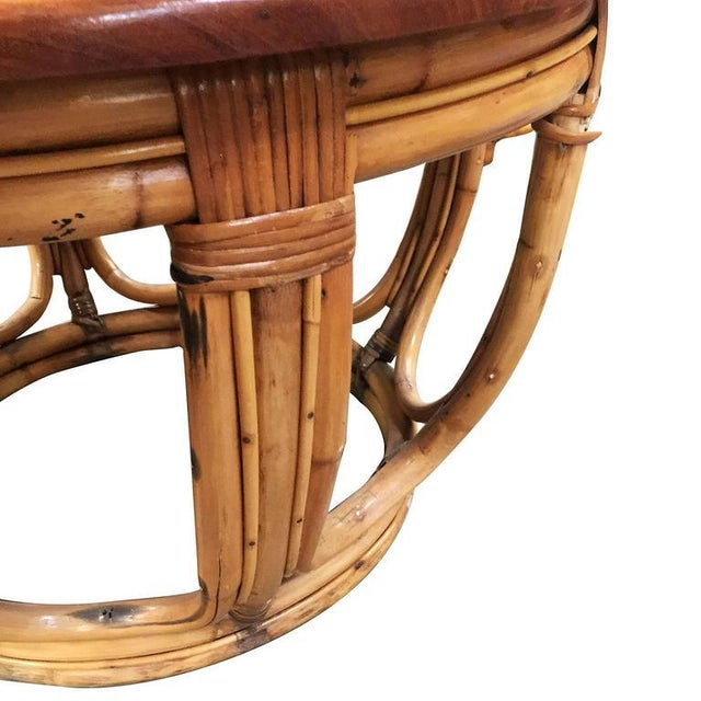Mid-Century Modern Restored Circular Rattan Coffee Table with Mahogany Top For Sale - Image 3 of 5