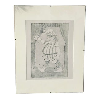 "Vintage ""Mr. Punch"" Etching Signed M. Reusy For Sale"