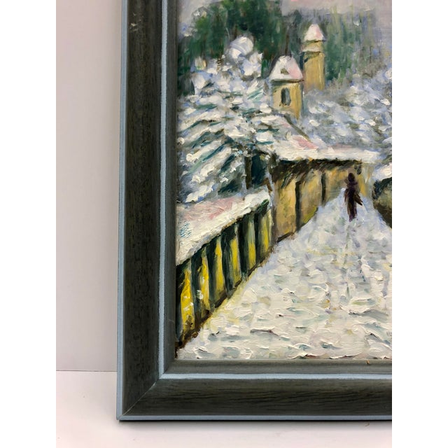 Traditional 1960s Small Winter Scene Oil Painting by Genevieve Roberto, Framed For Sale - Image 3 of 5