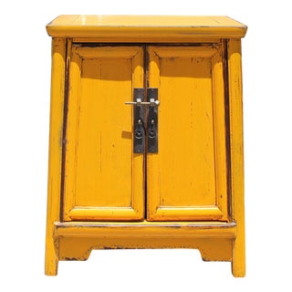 Chinese Rustic Distressed Yellow a Shape End Table Nightstand For Sale