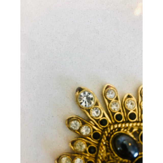 1980s Large Filigree Crystallized Pin For Sale - Image 5 of 6