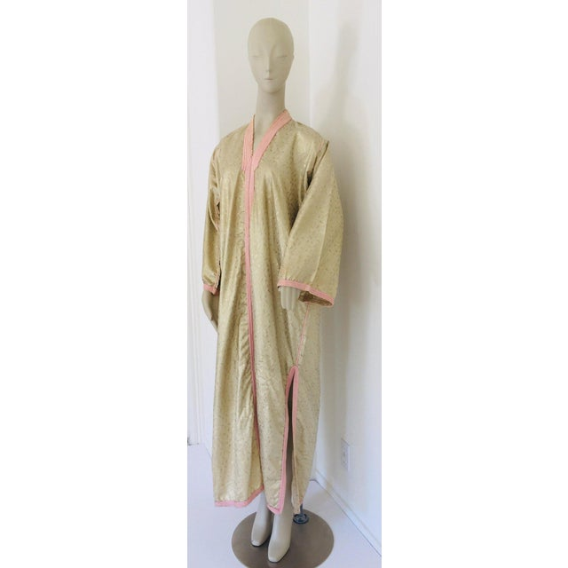 Gold 1970s Metallic Gold Moroccan Caftan, Kaftan Maxi Dress North Africa, Morocco For Sale - Image 8 of 13