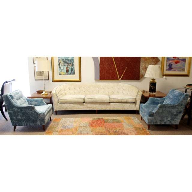 For your consideration is an incredible, Kroehler, crushed velvet sofa and pair of chairs suite, circa the 1950s. In...