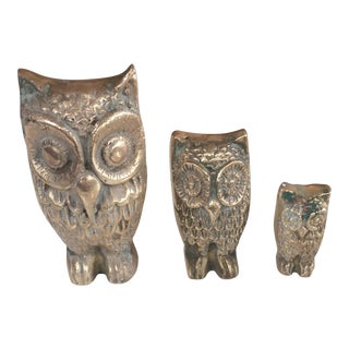 Miniature Brass Owl Collection - Set of 3 For Sale