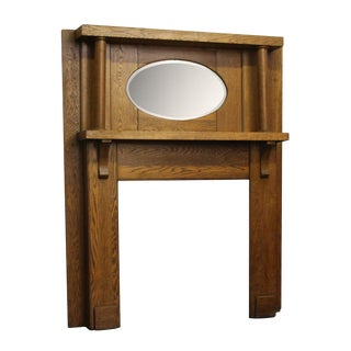 20th Century Early American Simple Oak Mantel For Sale