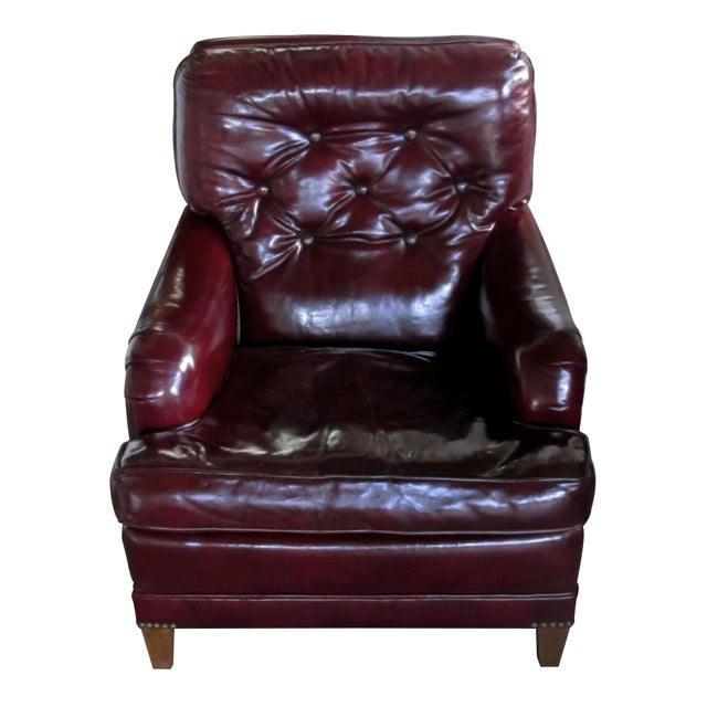 1940s A Handsome and Comfortable American 1940's Chesterfield Club Chair and Ottoman With Deep Burgundy Leather For Sale - Image 5 of 6