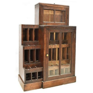 Early 1900s French Country Oak Glazed Wine Bottle Display Preview