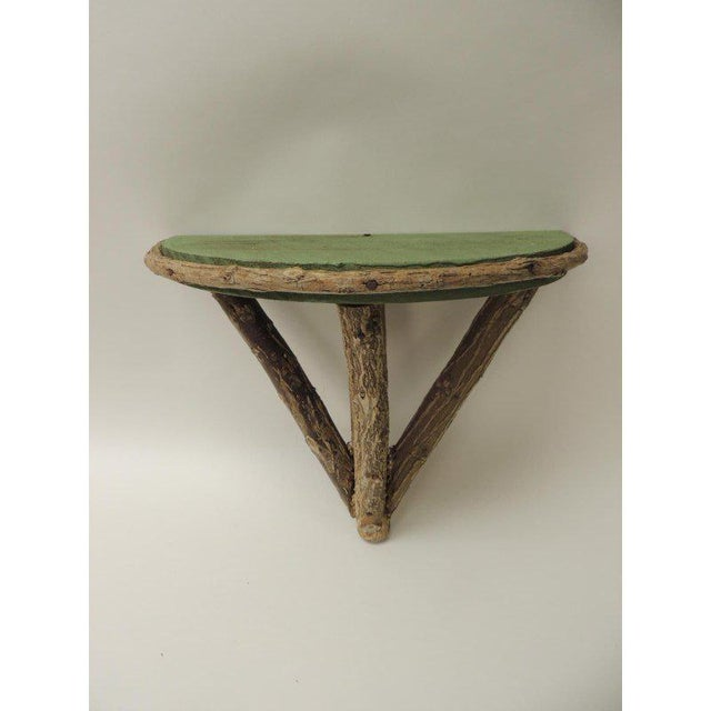 Paint Rustic Willow Painted Green Garden Artisanal Wall Shelf/Bracket For Sale - Image 7 of 8