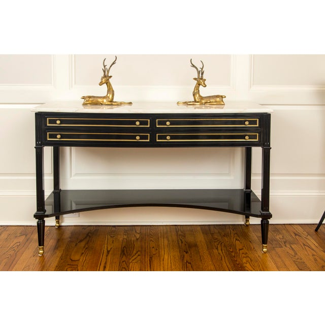 Hollywood Regency French Regency Style Black Lacquer Sideboard With White Marble Top Style of Maison Jansen For Sale - Image 3 of 13