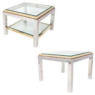 French Chrome and Brass Side Tables - A Pair For Sale