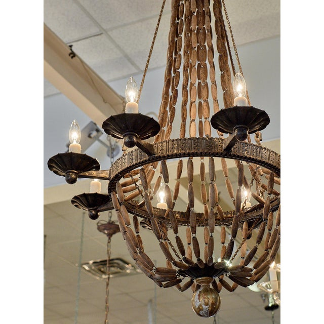 1940s Vintage Italian Wooden Chandelier For Sale - Image 5 of 10