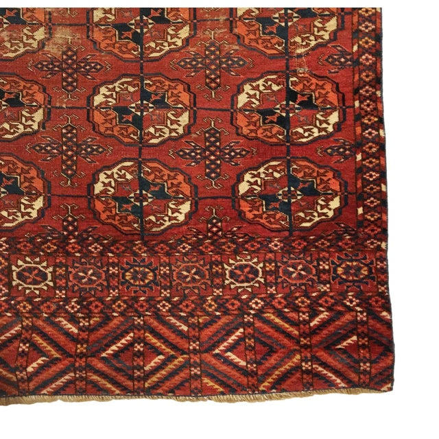 Tribal Vintage Tekke Red Rug For Sale - Image 3 of 4