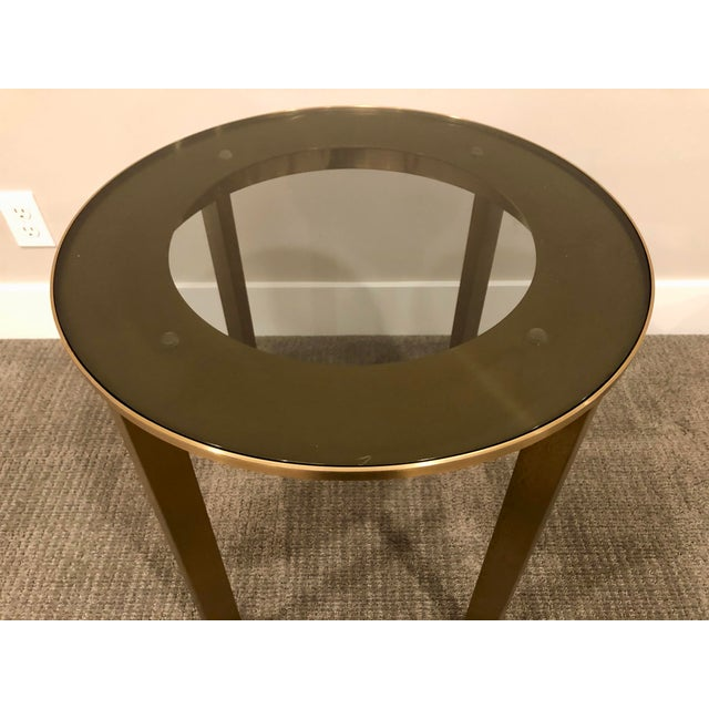 Side Table Klein.Modern Calvin Klein Brushed Brass Glass Side Table