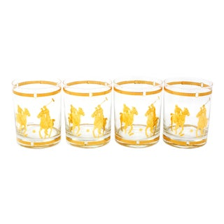 Vintage Signed Culver Rocks/Highball Glass With 22k Polo Players and Horse Bit Trim - Set of 4 For Sale