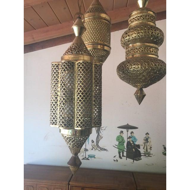 Mid-Century Triple Pendant Brass Chandelier - Image 4 of 5