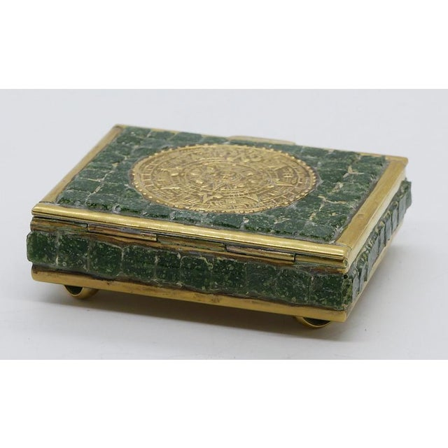 Mexican Mosaic Glass and Brass Box For Sale - Image 3 of 6