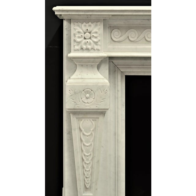 Very Rich Carved White Marble Louis XVI Fireplace For Sale - Image 4 of 6