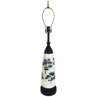 Crackle Painted Glazed Ceramic Lamp For Sale