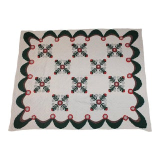 Antique Quilt Red and Green Applique For Sale