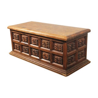 Rustic Handcarved Pine Frame and Panel Chest For Sale