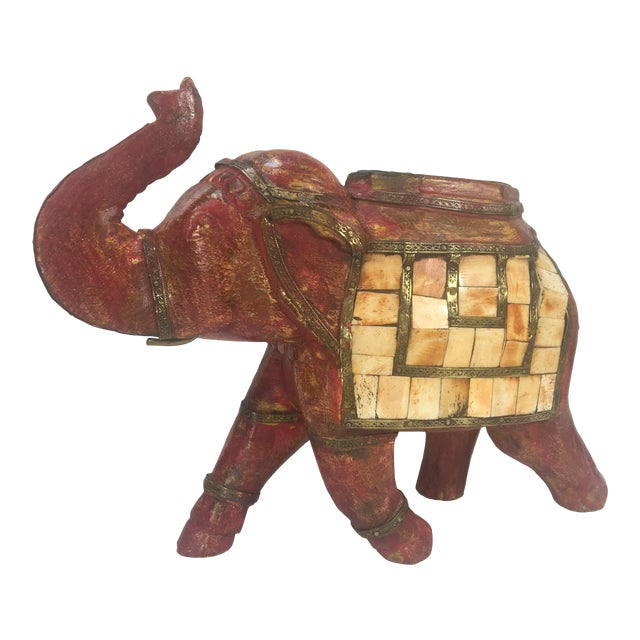 Large Brass And Bone Inlaid Wooden Carved Elephant Statue