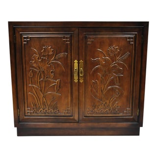 20th Century Chinoiserie Henredon Folio 16 Floral Carved Server Cabinet For Sale