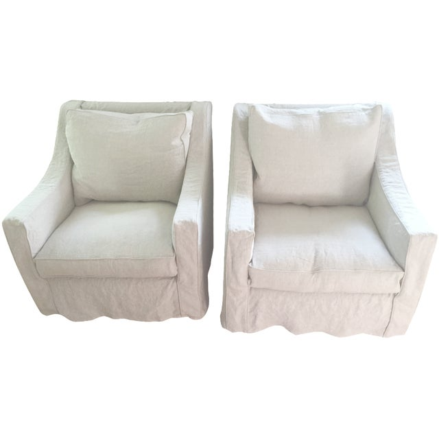 Designer Linen Slipcover Club Chairs - A Pair - Image 1 of 7