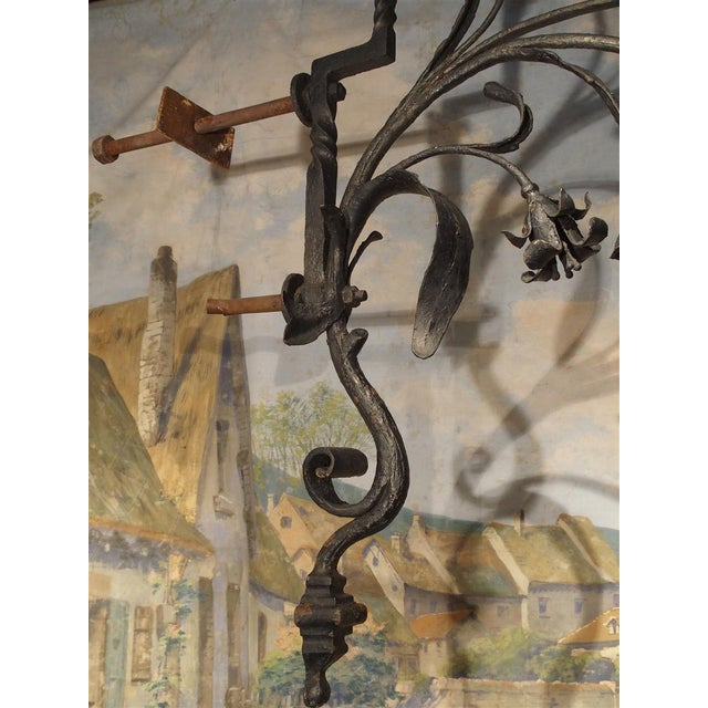 Massive Circa 1700 Forged Iron Lantern Holder From a Castle in Wallonia Belgium For Sale - Image 9 of 12
