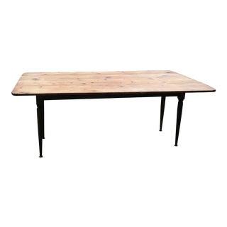 19th Century Pine Drop-Leaf Harvest Table For Sale