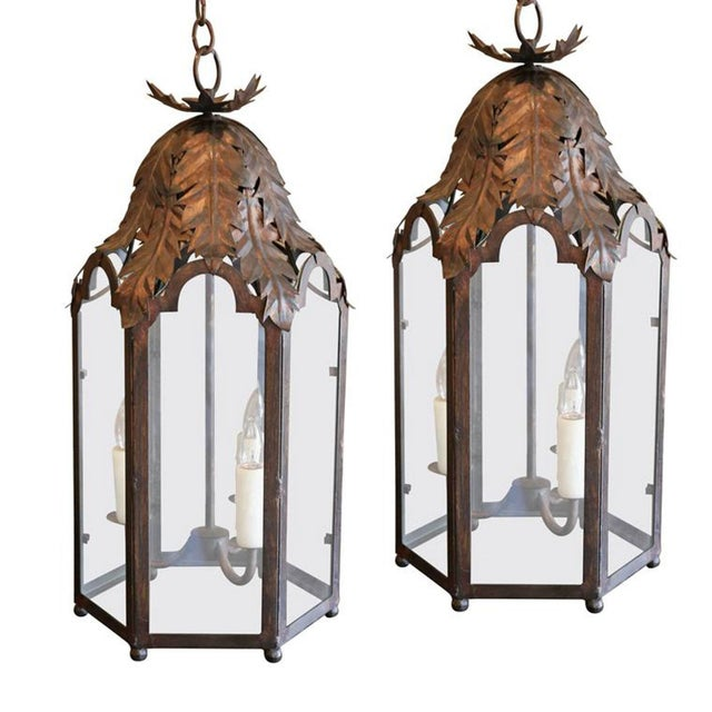 Bronze Two Italian Style Lanterns For Sale - Image 8 of 8