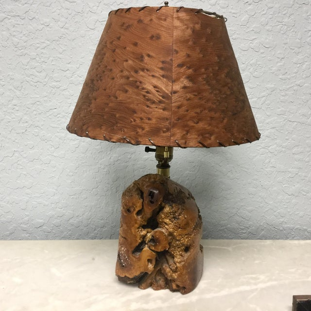 Mid-Century Naturalistic Burl Wood Lamp For Sale - Image 10 of 10